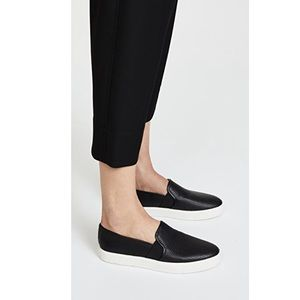 VINCE || Leather ventilated sneakers black shoes